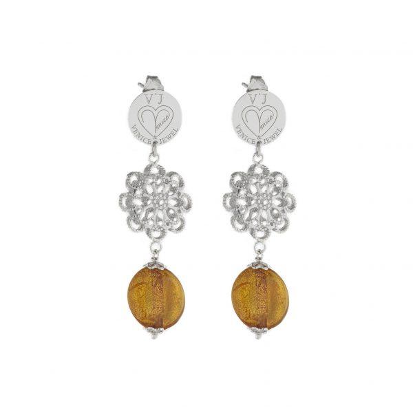 orecchini argento e vetro di murano made in italy